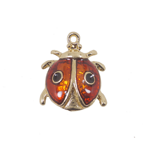 5 Pcs Ladybug Charms Antique Enamel Pendant 24mmx20mm
