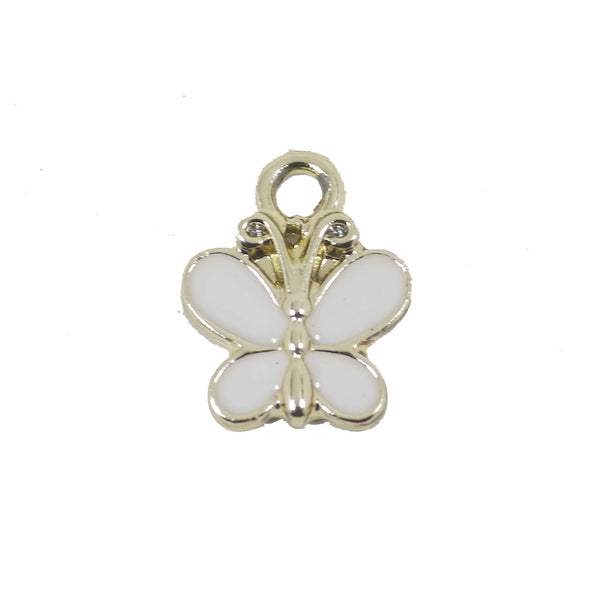 10 Pcs White Butterfly Charms Antique Enamel Pendant 14mm x 12mm
