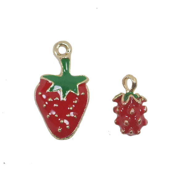 10 Pcs Red Strawberry Enamel Charm Jewelry Bracelet Pendant