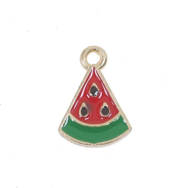 10 Pcs Red Watermelon Enamel Charm Jewelry Bracelet Pendant 16mm x 11mm