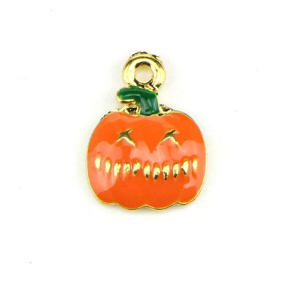 10 Pcs Pumpkin Enamel Charm Gold Plated Halloween Charm