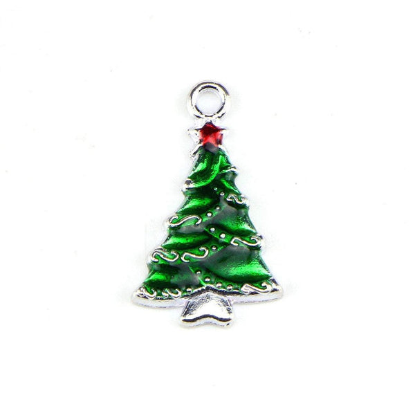 10 Pcs Christams Tree Enamel Charm Jewelry Bracelet Pendant