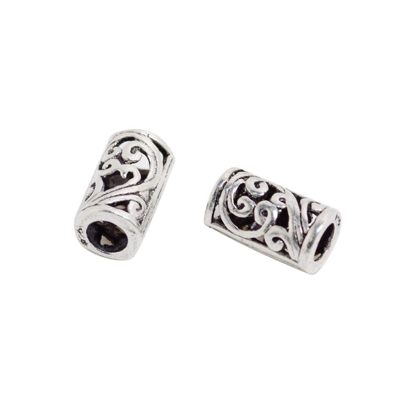 2 Pcs Vintage 925 Sterling Silver Tube Spacer Bead