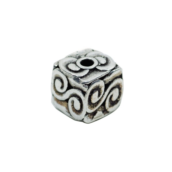 Vintage 925 Sterling Silver Cube Spacer Bead