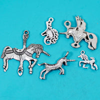 5 Pcs Unicorn Charm Antique Silver-tone Pendant