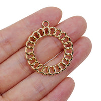 2 Pcs Gold Plated Circle Charm for Jewelry Making