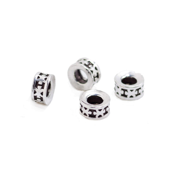 4 Pcs Vintage 925 Sterling Silver Spacer Bead for Jewelry Making