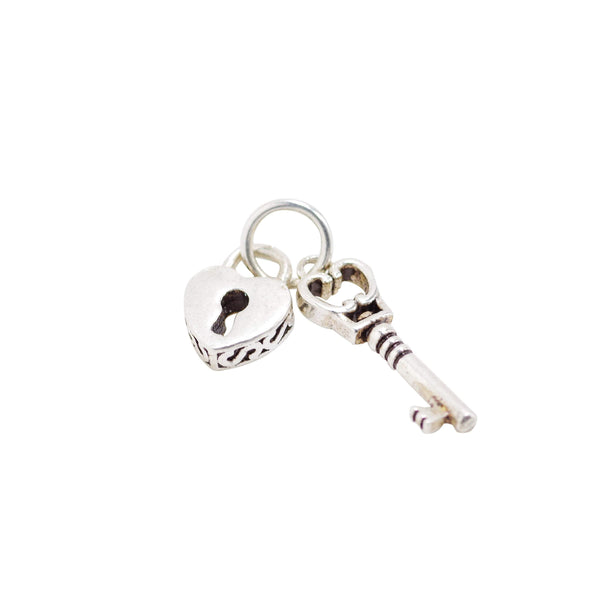 Vintage 925 Sterling Silver Key and Heart Charm with Close Jump Ring for Jewelry Making