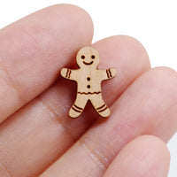 8 Pcs Gingerbread Man Charm - Wooden Jewelry Making Supplies