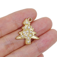 2 Pcs Gold Plated Christmas Tree Charm for Jewelry Making
