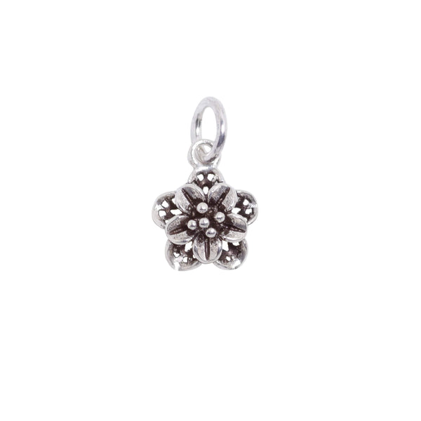 2 Pcs Vintage 925 Sterling Silver Flower Charm with Close Jump Ring