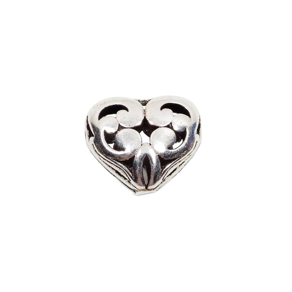 Vintage 925 Sterling Silver Love Shape Heart Spacer Bead