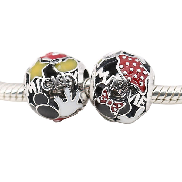 Mickey Minnie Mouse Charm 925 Sterling Sliver Spacer Bead Fits Pandora Bracelet
