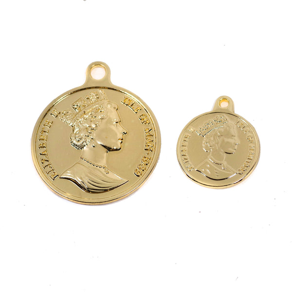 2 Pcs Gold Plated Coin Charm - Double Side
