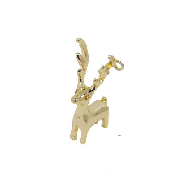 1 Pcs Gold Plated 3D Reindeer Charm