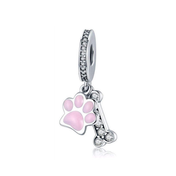 925 Sterling Silver Dog Paw and Bone Charm Bead for Bracelet Pendant