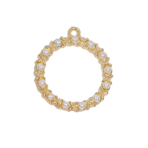 2 Pcs Gold Plated Circle with Pearl Charm for Jewelry Making