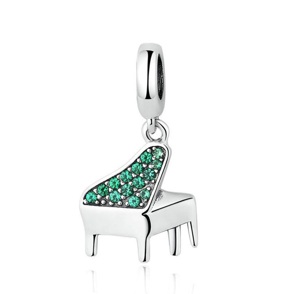 925 Sterling Silver Piano Charm Bead for Bracelet Pendant