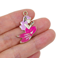 2 Pcs Pink Mermaid Enamel Connector Jewelry Bracelet Pendant