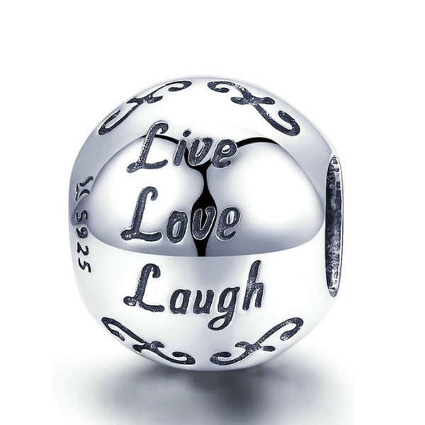 925 Sterling Silver Live Love Laugh Charm Bead for Charm Bracelet Pendant