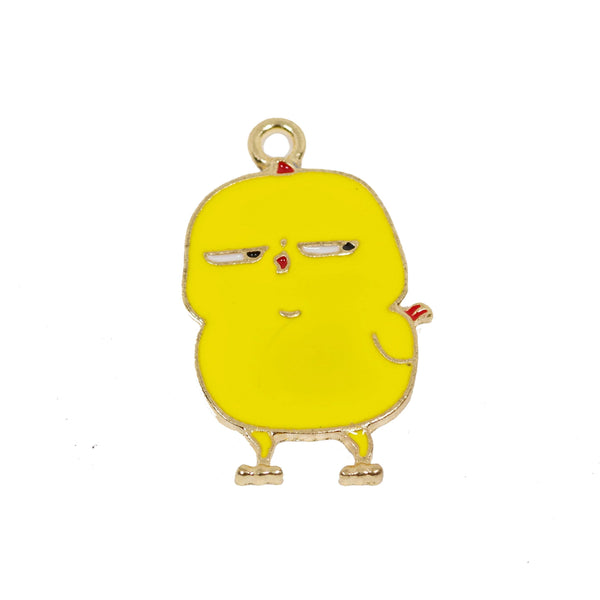 2 Pcs Funny Chick Enamel Charm Craft Supplies