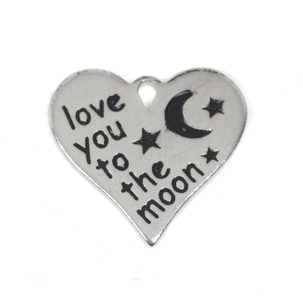 2 Pcs Stainless Steel Charm - Love You to the Moon