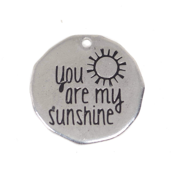 2 Pcs Stainless Steel Charm - You Are My Sunshine