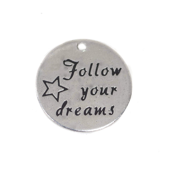 2 Pcs Stainless Steel Charm - Follow Your Dream