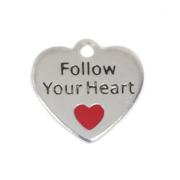 2 pcs Stainless Steel Charm - Follow Your Heart