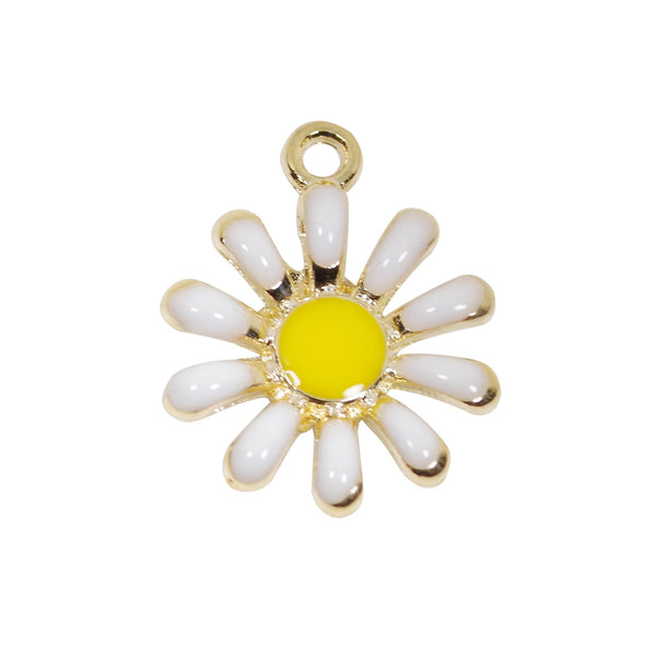 10 Pcs Daisy Flower Enamel Charm Craft Supplies