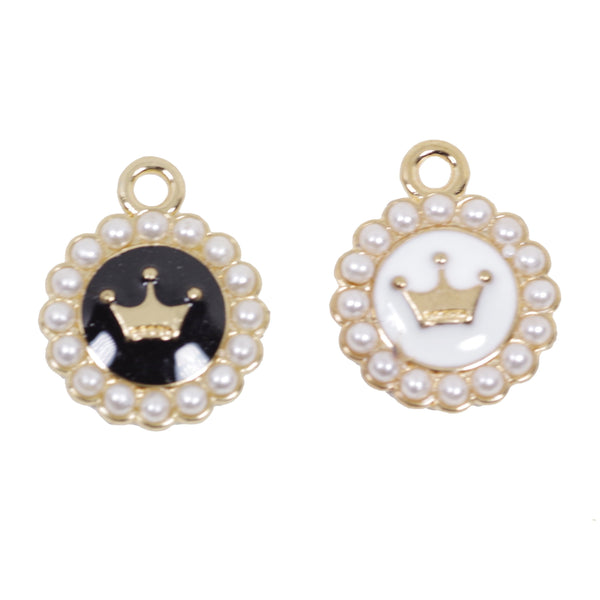 5 Pcs Crown with Pearl Enamel Charm Craft Supplies