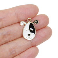 6 Pcs Sleepy Dog Enamel Charm Craft Supplies