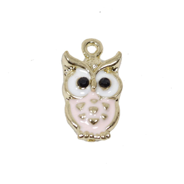 4 Pcs Owl Enamel Charm Craft Supplies Gold Plated Pendant