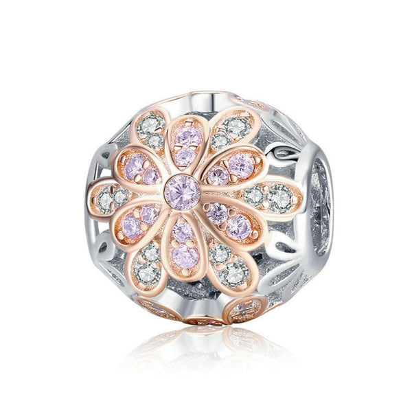 925 Sterling Silver Flower Charm Bead for Bracelet Pendant