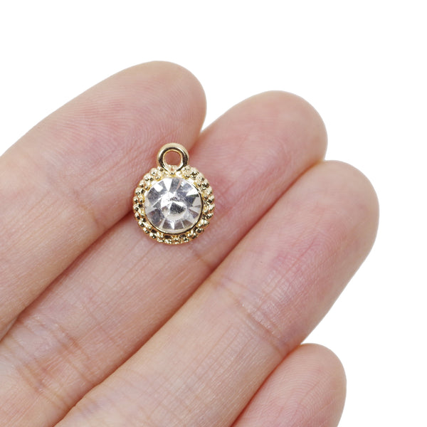 5 Pcs Gold Plated Circle Crystal Charm for Jewelry Making