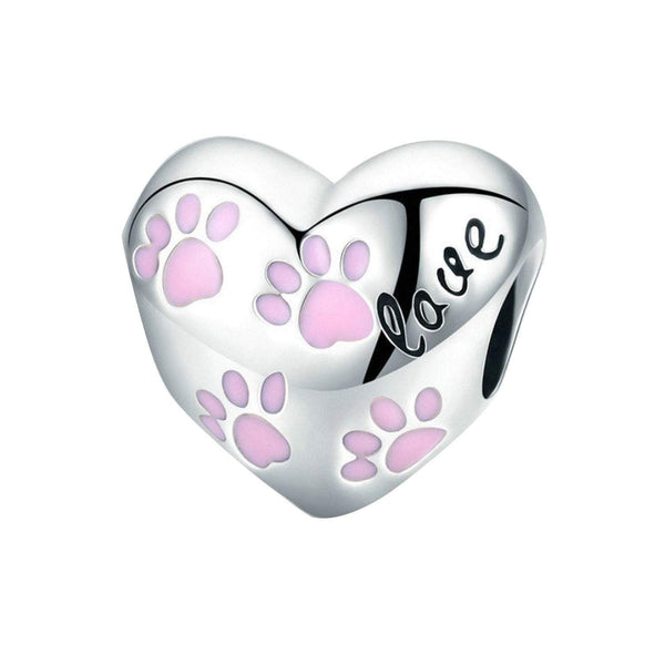 925 Sterling Silver Dog Paw Charm Bead for Bracelet Pendant