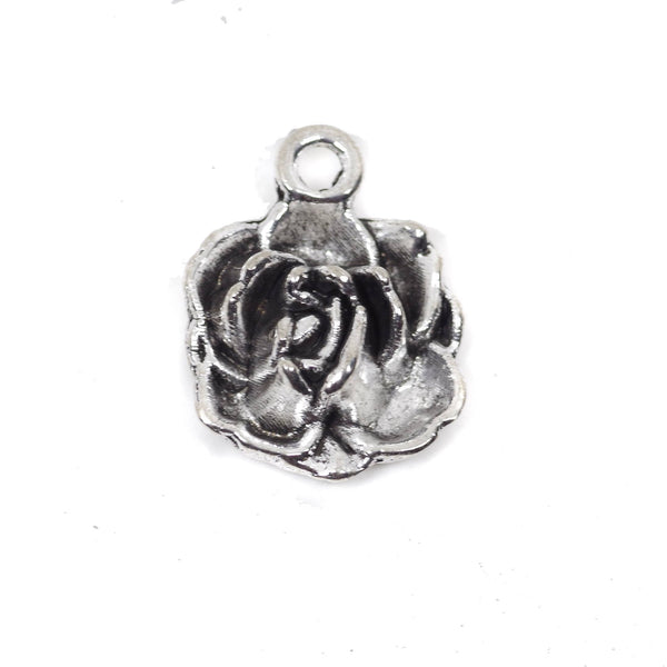 10 Flower Charms Antique Silver Tone Pendant