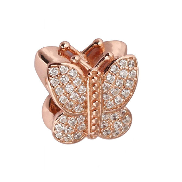 Rose Gold Butterfly Pandora Charm 925 Sterling Sliver Spacer Bead Fits Pandora Bracelet Rose Gold and Silver
