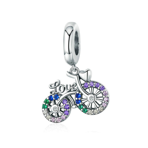 925 Sterling Silver Bike Charm Bead for Bracelet Pendant