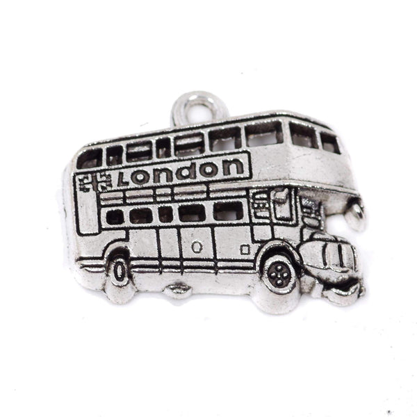 10 London Bus Charm Charms Antique Silver Tone Pendant