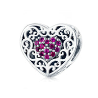 925 Sterling Silver Pink Heart Charm Bead Fits Pandora Charm Bracelet Pendant