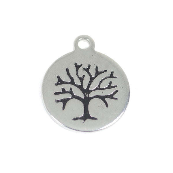 2 Pcs Family Tree Stainless Steel Charm