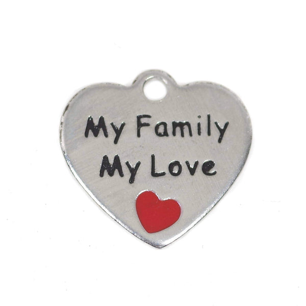 2 Pcs Stainless Steel Charm - My Family My Love