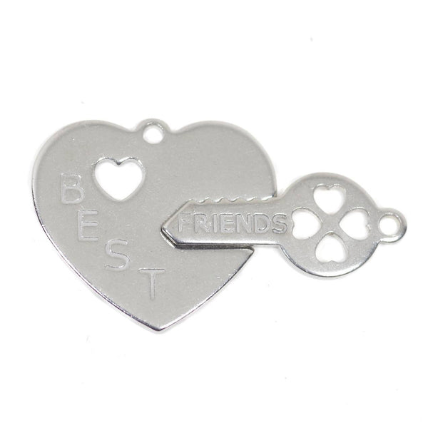 1 Set Best Friend Heart and Key Stainless Steel Charm