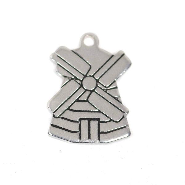 2 pcs Windmill Stainless Steel Charm
