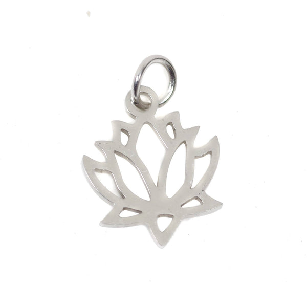 2 pcs Tiny Lotus Stainless Steel Charm