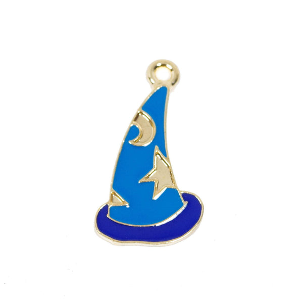 5 Pcs Blue Magic Hat Enamel Charm Gold Plated Pendant