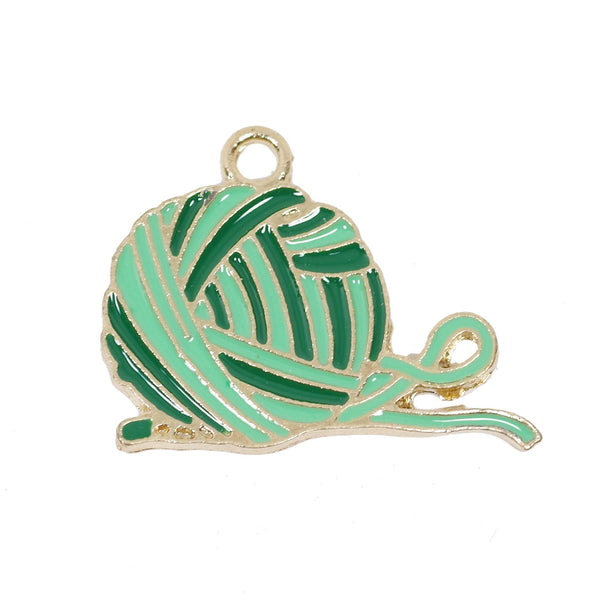 6 Pcs Green Wool Yarn Enamel Charm Gold Plated Pendant