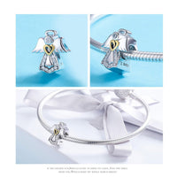 925 Sterling Silver Angle with Gold Heart Charm Bead Fits Pandora Charm Bracelet Pendant