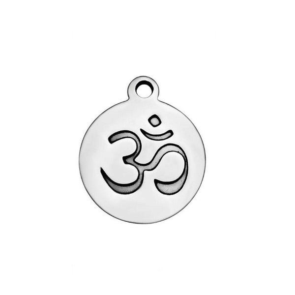 5 pcs OM Stainless Steel Charm One Side